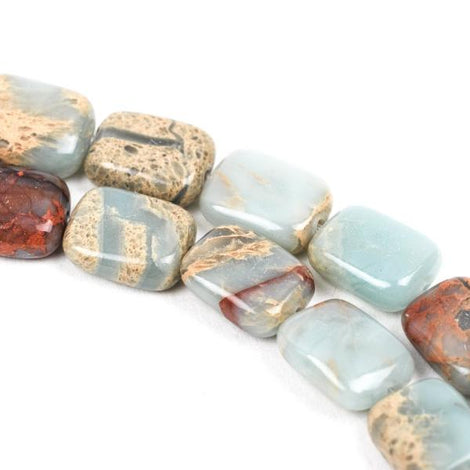 10mm AQUA TERRA JASPER Rectangle Gemstone Beads, natural, blue green, tan, full strand gja0023