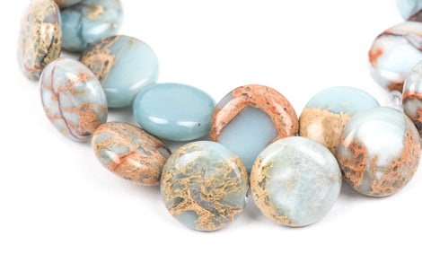 14mm AQUA TERRA JASPER Round Flat Coin Gemstone Beads, natural, blue green, tan, full strand gja0016