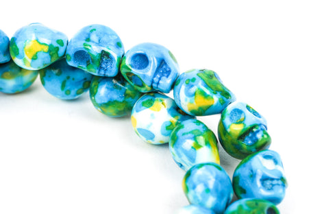Howlite Beads, SKULL, 10mm x 8mm, marble blue green yellow white multicolor gemstone, full strand, how0331