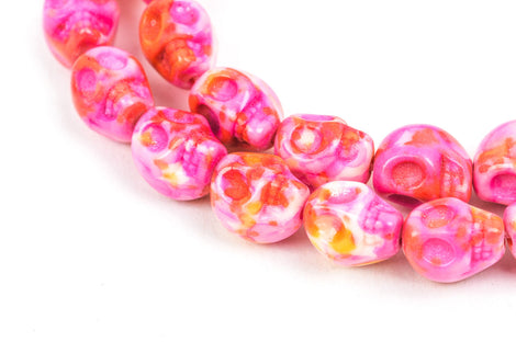 Howlite Beads, SKULL, 10mm x 8mm, marble pink orange white multicolor gemstone, full strand, how0335