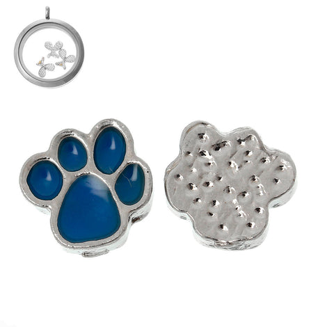 4 BLUE PAW PRINT Floating Charms for Memory Lockets, enamel, silver tone metal, che0426