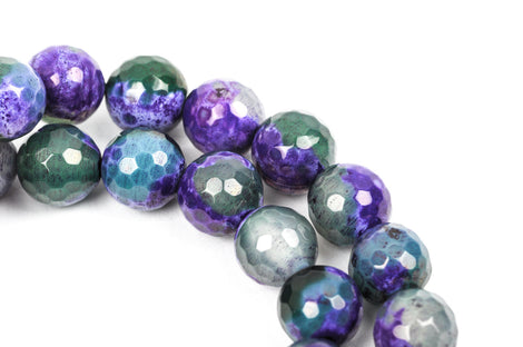 10mm Round Faceted PURPLE and GREEN AGATE Beads, full strand,  Natural Gemstones gag0129