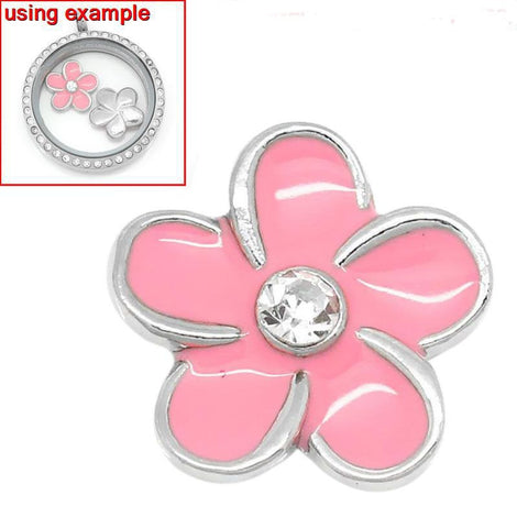 4 Pink Rhinestone FLOWER Floating Charms for Memory Lockets, enamel, silver tone metal, che0445