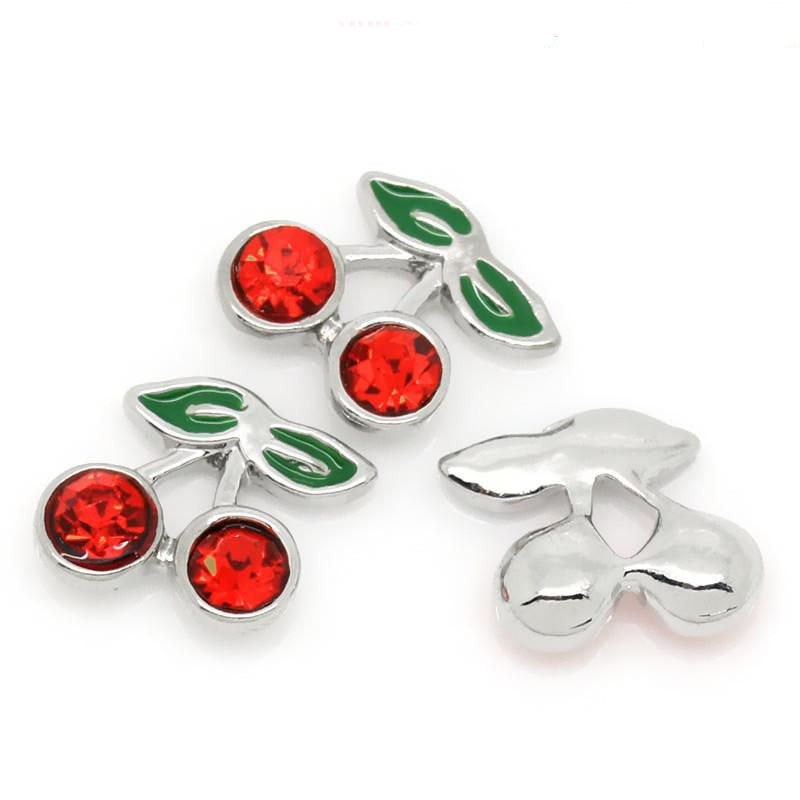 4 Tiny Crystal Rhinestone CHERRY Floating Charms for Memory Lockets, crystal rhinestone, enamel, silver tone metal, che0451