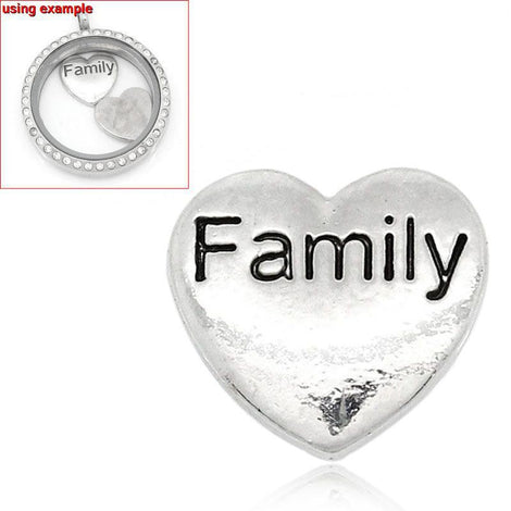 4 Silver FAMILY Heart Floating Charms for Memory Lockets, silver tone metal, chs1628