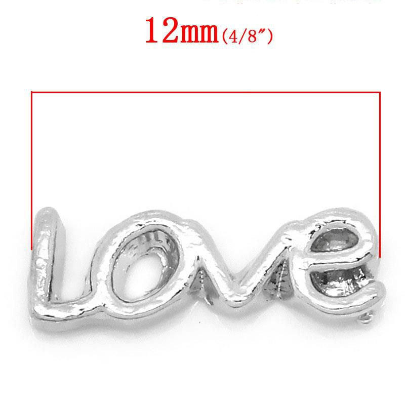 4 Silver LOVE Affirmation Word Floating Charms for Memory Lockets, silver tone metal, chs1633