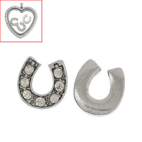 4 Silver LUCKY HORSESHOE Rhinestone Floating Charms for Memory Lockets, silver tone metal, crystals, chs1632