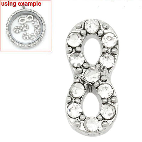 4 Silver INFINITY Symbol Rhinestone Floating Charms for Memory Lockets, silver tone metal, crystals, chs1637
