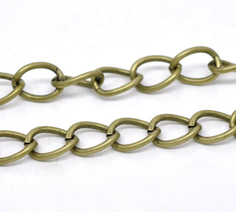1 yard (3 feet) Large Bronze Metal Curb Link Chain,  links are 15x11mm  fch0206