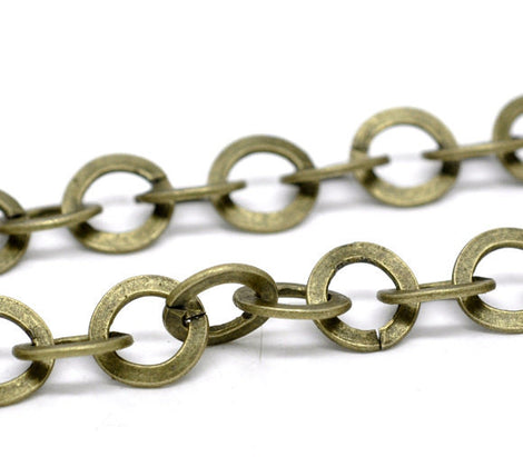1 yard (3 feet) Large Bronze Metal ROUND Link Chain, links are 10mm  fch0211