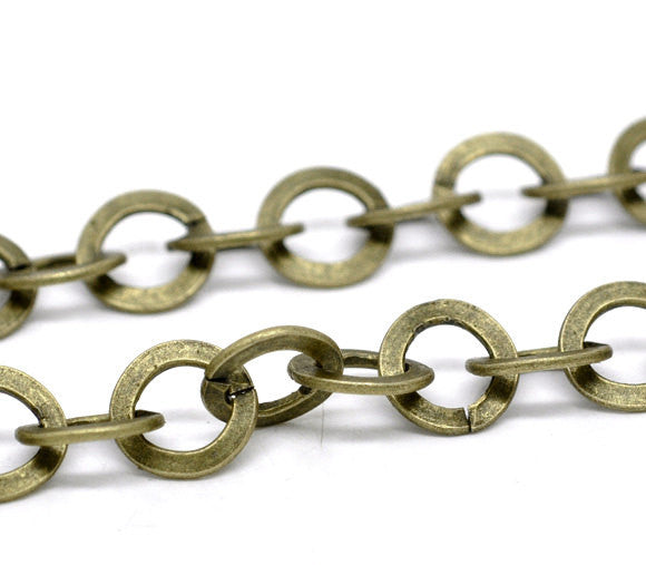 10 meters (32.8 feet) SPOOL Large Bronze Metal ROUND Link Chain, links are 8mm  fch0212b