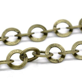 1 yard (3 feet) Large Bronze Metal ROUND Link Chain, links are 8mm  fch0212a