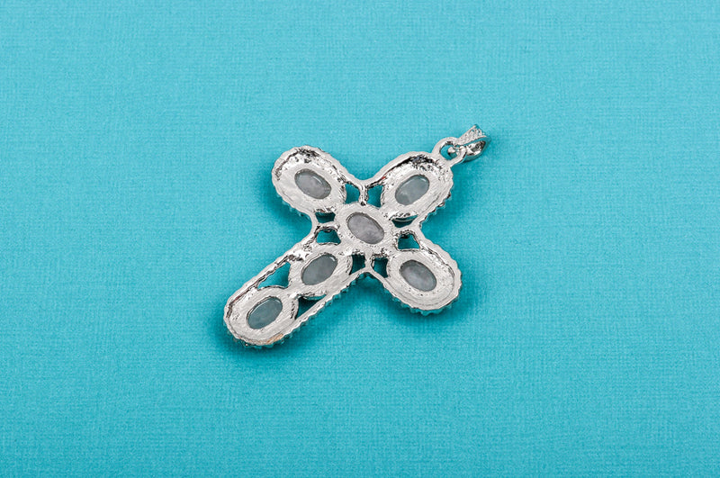 "1 Rose Quartz Silver Cross Pendant, large oval gemstone cabochons set in oxidized silver bezel setting, 3"" long  cgm0040"