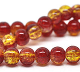 "RED and YELLOW Crackle Glass Round Beads 6mm, 32"" strand . about 133 beads bgl1014"