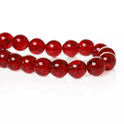 12mm CRIMSON RED Round Crackle Glass Beads  30 beads bgl1013
