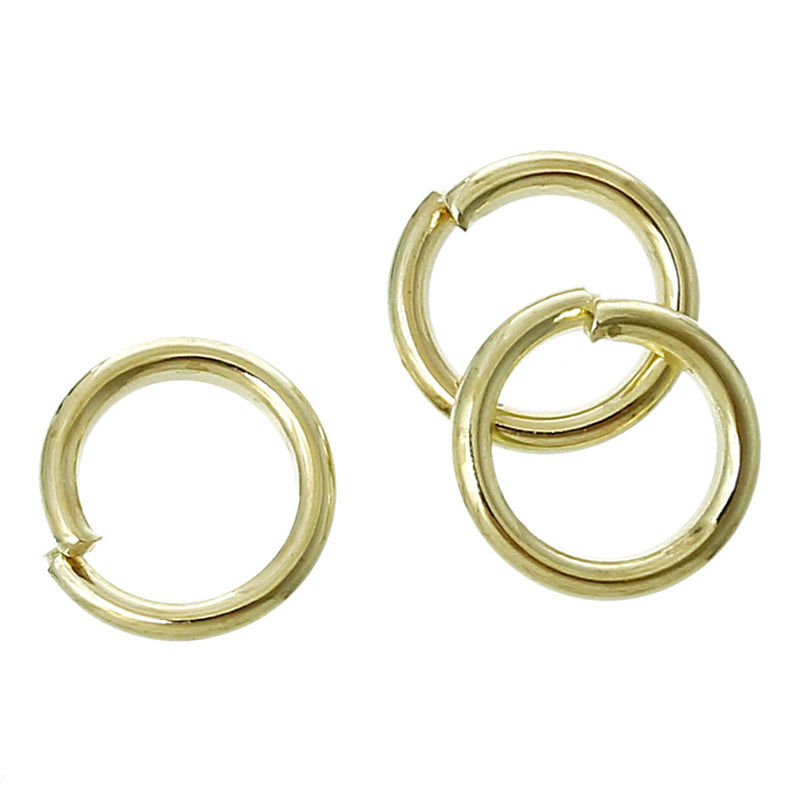 50 Gold Plated open jump rings, 6mm OD, 4mm ID, 18 gauge wire, jum0103a