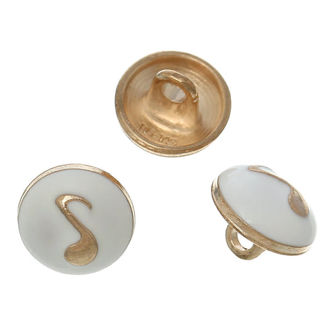 "10 MUSIC NOTE Shank Buttons, gold plated over copper, white enamel, 10mm, 3/8"" diameter but0212"