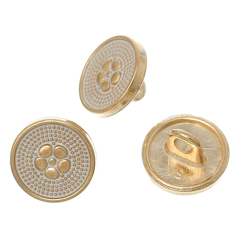 "10 FLOWER Shank Buttons, gold plated over copper, white enamel, 10mm, 3/8"" diameter but0213"