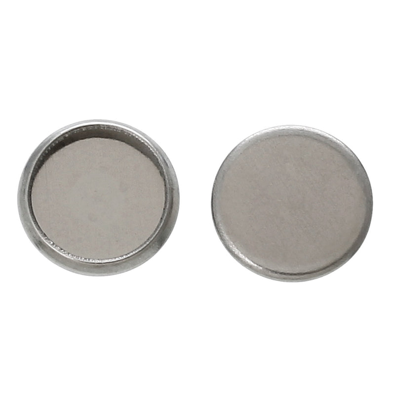 20 stainless steel cabochon bezel setting components, fits 8mm round inside bezel  fin0367