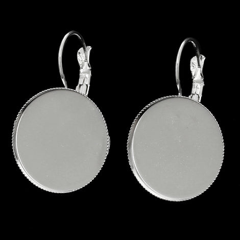 10 (5 pairs) silver plated cabochon bezel setting lever back earring components, fits 20mm round  inside bezel  fin0370
