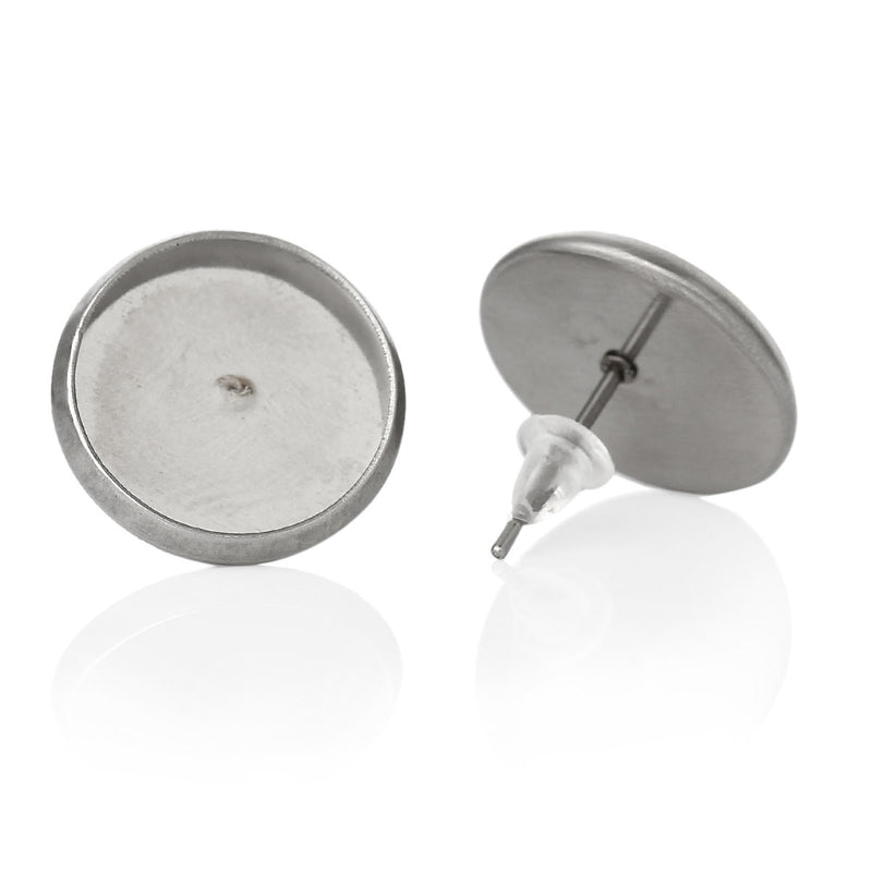 30 (15 pairs) stainless steel cabochon bezel setting earring post components, fits 12mm round inside bezel  fin0365a