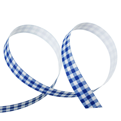 "5/8"" Royal Blue Gingham Checkered Sticky Fabric Tape adhesive on back, 4 meter roll  adh0011"