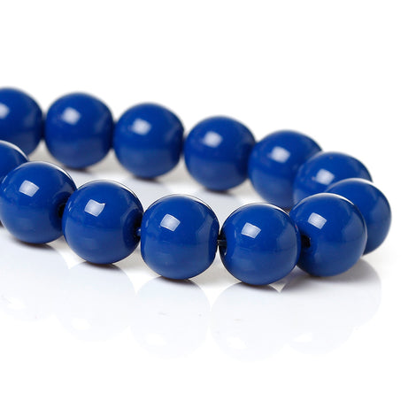 8mm ROYAL BLUE Round Glass Pearl Beads, double strand, about 107 beads,  bgl1016