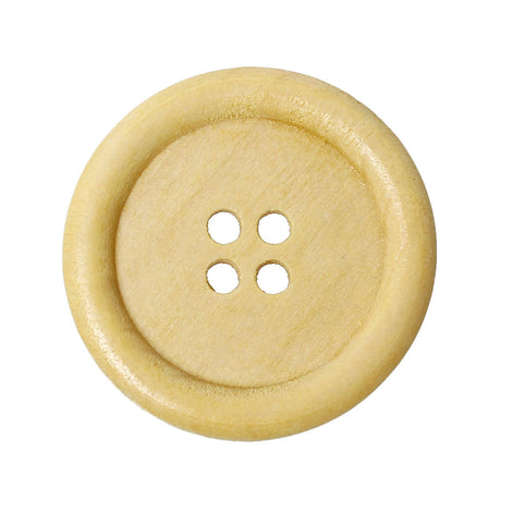 "50 Large Wood Buttons, 35mm or 1-3/8"" diameter natural light wood color, but0214b"