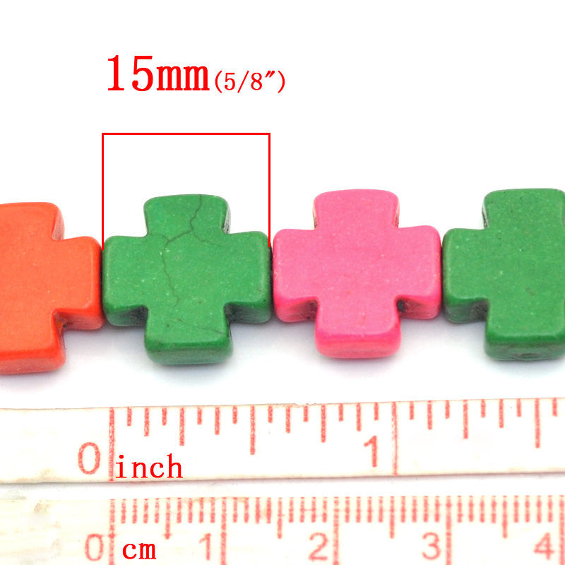 Howlite MALTESE Cross Stone Beads MIXED COLORS, 15mm, 1 strand  how0354