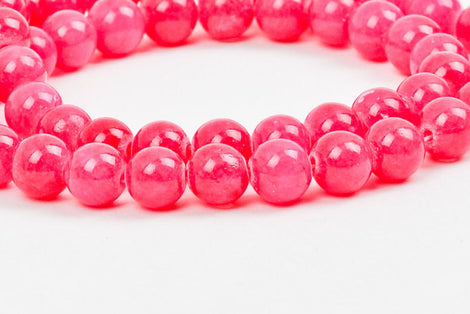 8mm HOT PINK Round Dyed Candy Jade Gemstone Beads, full strand, about 52 beads gjd0050