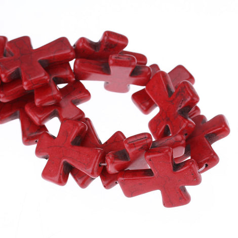 50x40mm Large Howlite Stone Beads RED Maltese CROSS Beads, full strand, 8 beads, how0433b