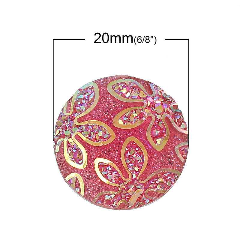 20mm Faux Druzy Cabochons, HOT PINK AB Druzy Cabochons, Round Resin Metallic Frosted,  10 pcs  cab0262