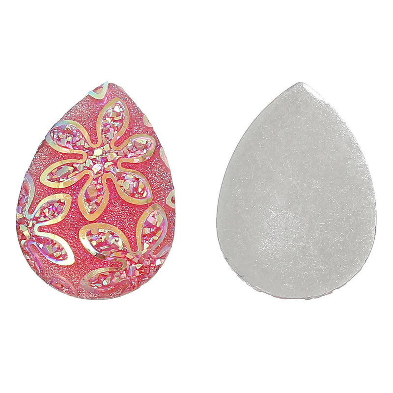 "10 Teardrop Druzy Cabochons, Resin Metallic Frosted HOT PINK AB, 24x17mm, 1""x3/4""  cab0268"