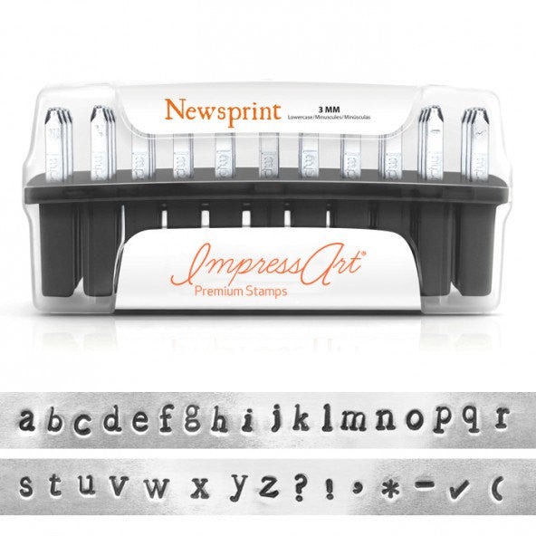 ImpressArt Metal Alphabet Letter Stamping Set,  3mm PREMIUM LOWERCASE NEWSPRINT Font for stainless steel, Lifetime Guarantee  tol0162