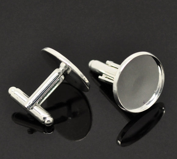 10 Cuff Link blanks, silver plated bezel tray blanks, fits 18mm round cabochons fin0376