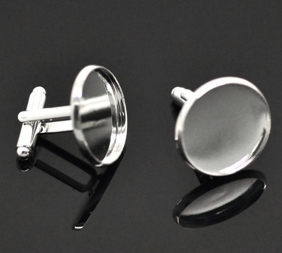 50 Cuff Link blanks, silver plated bezel tray blanks, fits 20mm round cabochons, bulk package, fin0373b