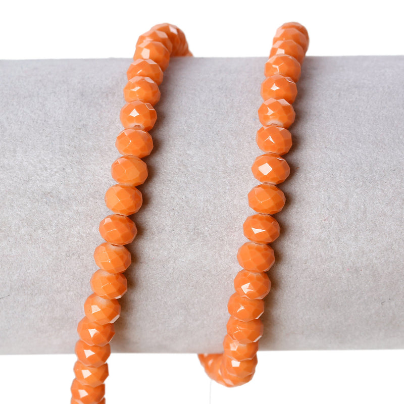 6x4.5mm TANGERINE ORANGE Glass Rondelle Beads, faceted, full strand, bgl1083
