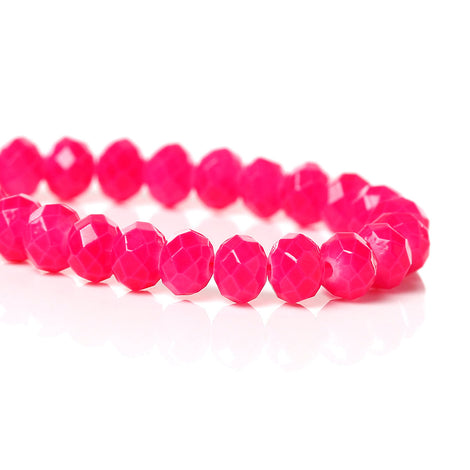 4mm HOT PINK Glass Rondelle Beads, faceted, full strand, 100 beads, bgl1096