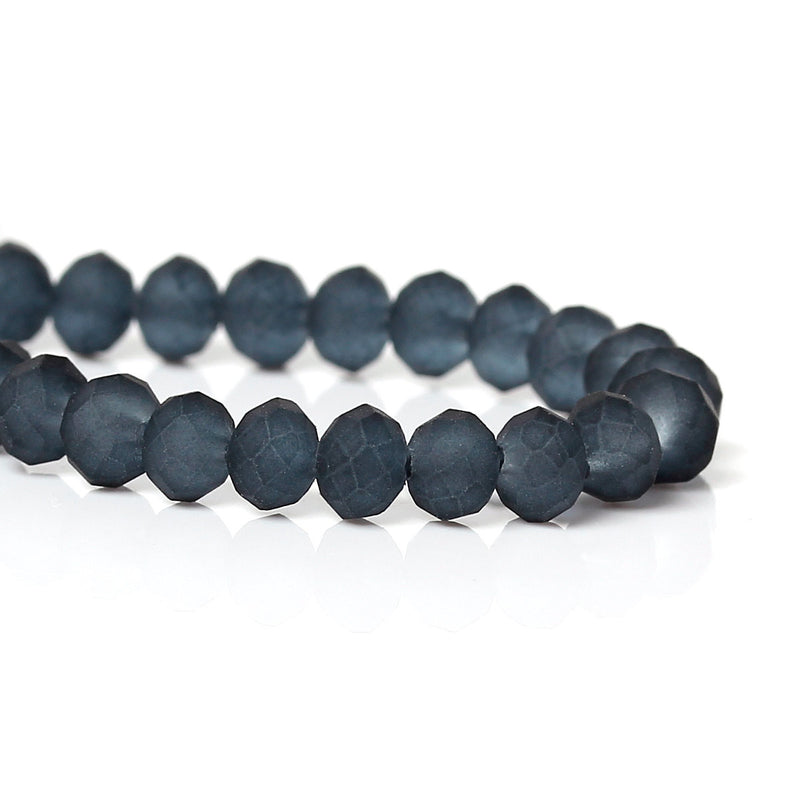 4mm GREY BLACK Frosted Glass Rondelle Beads, faceted, like beach glass, full strand, 100 beads, bgl1104