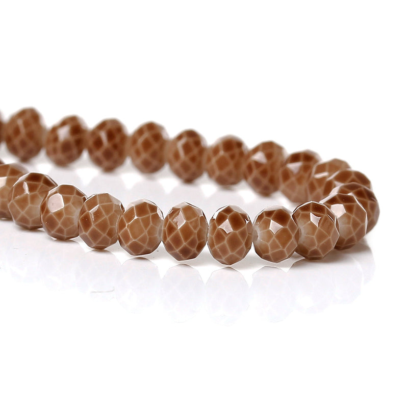 4mm CHOCOLATE BROWN Glass Rondelle Beads, faceted, full strand, 100 beads, bgl1097