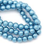 "6mm PEACOCK BLUE Round Glass Pearls . long 33"" strand . about 160 beads . Bgl1123"