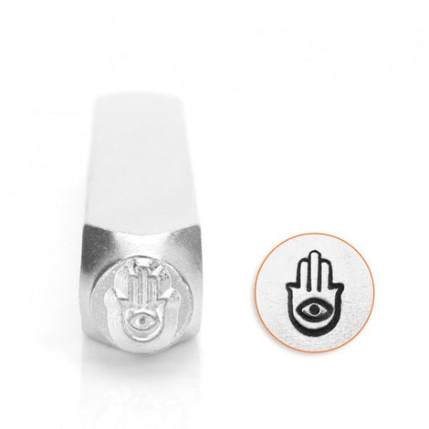 ImpressArt Metal Design Stamp,  6mm HAND of MIRIAM  Hamsa Evil Eye  tol0152