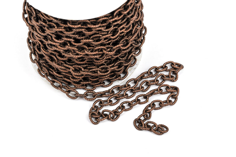 1 yard Copper Cable Chain, Oval Links are 9x6mm unsoldered, rope design texture, fch0225a