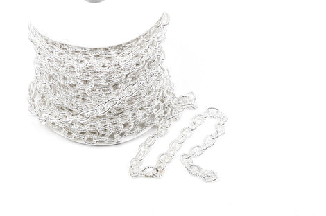 1 yard Bright Silver Plated Cable Chain, Oval Links are 9x6mm unsoldered, rope design texture, fch0222a
