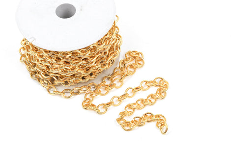 1 yard Bright Gold Plated Cable Chain, Diamond Links are 10x8mm unsoldered, hammered texture, fch0223