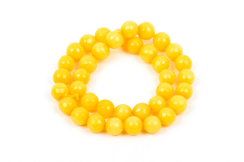 10mm Round Faceted LEMON YELLOW JADE Gemstone Beads, full strand gjd0060