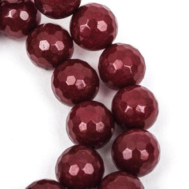 6mm Round Faceted MAROON RED JADE Gemstone Beads, full strand gjd0081