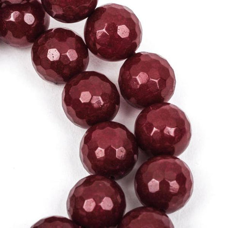 8mm Round Faceted MAROON RED JADE Gemstone Beads, full strand gjd0120