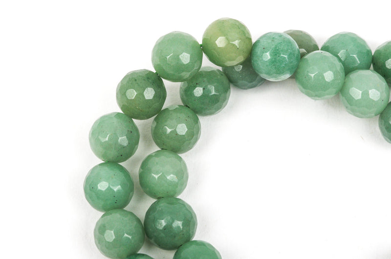 8mm Round Faceted SAGE GREEN JADE Gemstone Beads, full strand gjd0073