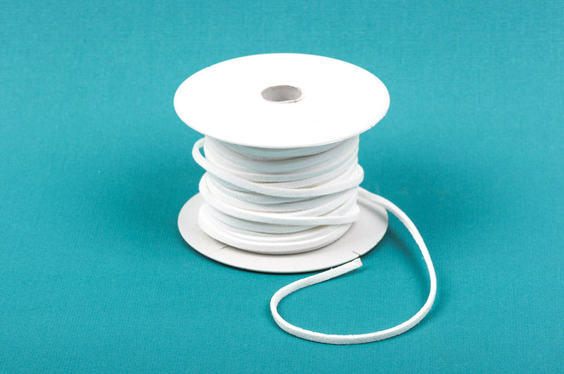 68 feet Spool of Faux Suede Lacing Cord, SNOW WHITE 3mm x 1.5mm   cor0043